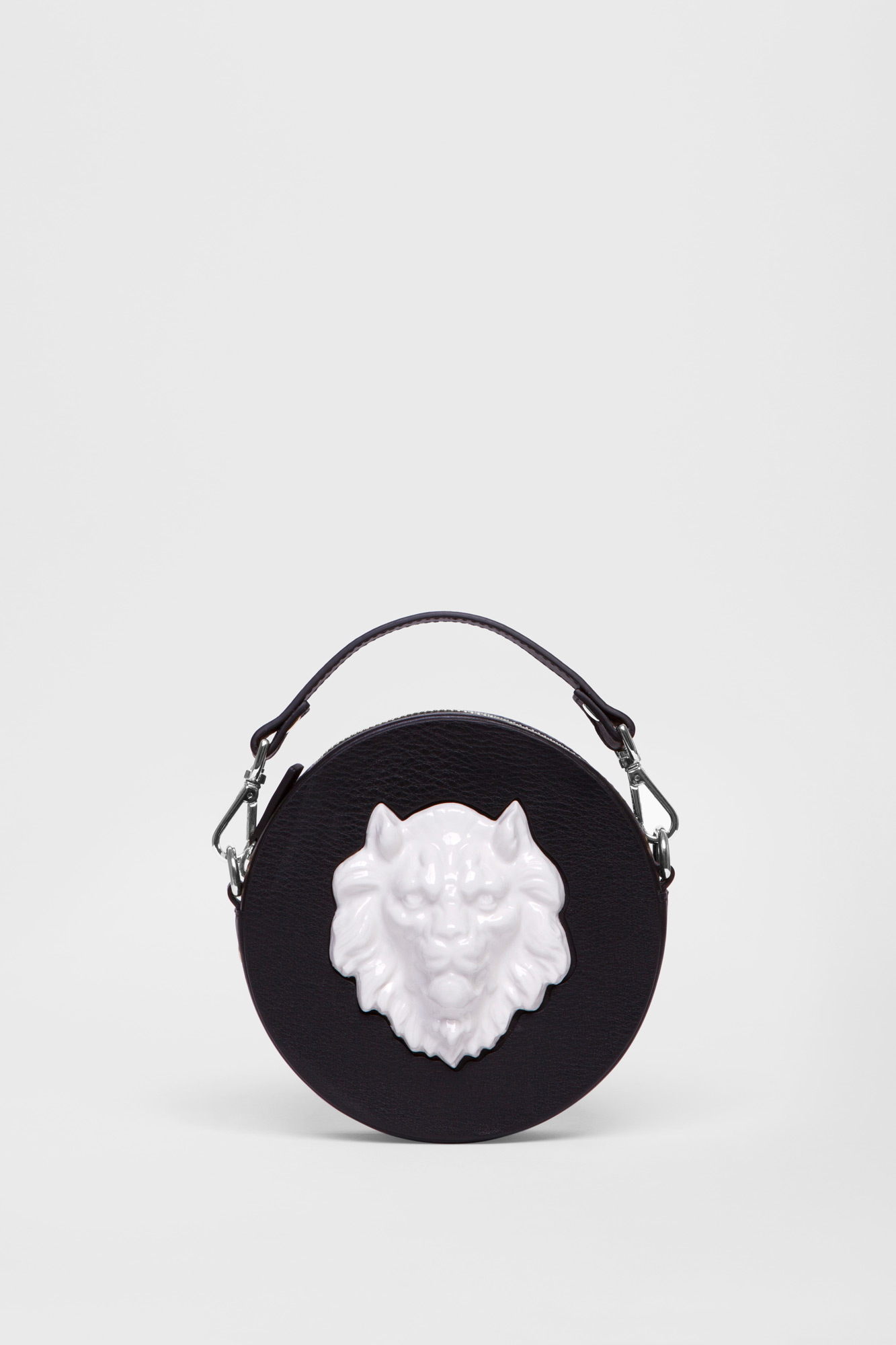 Round Lion Mini Bag Black
