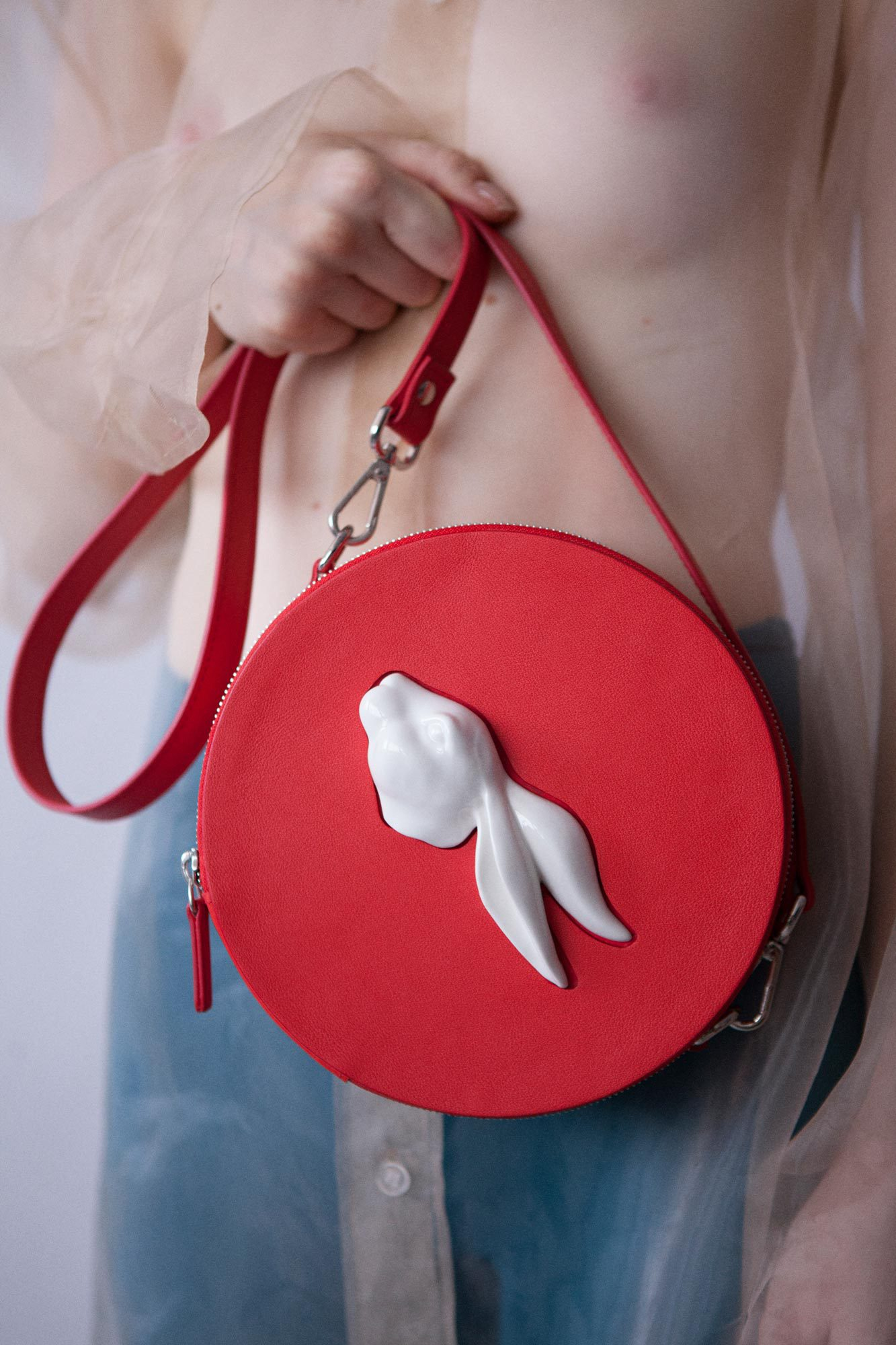 Round Rabbit Head Bag Red