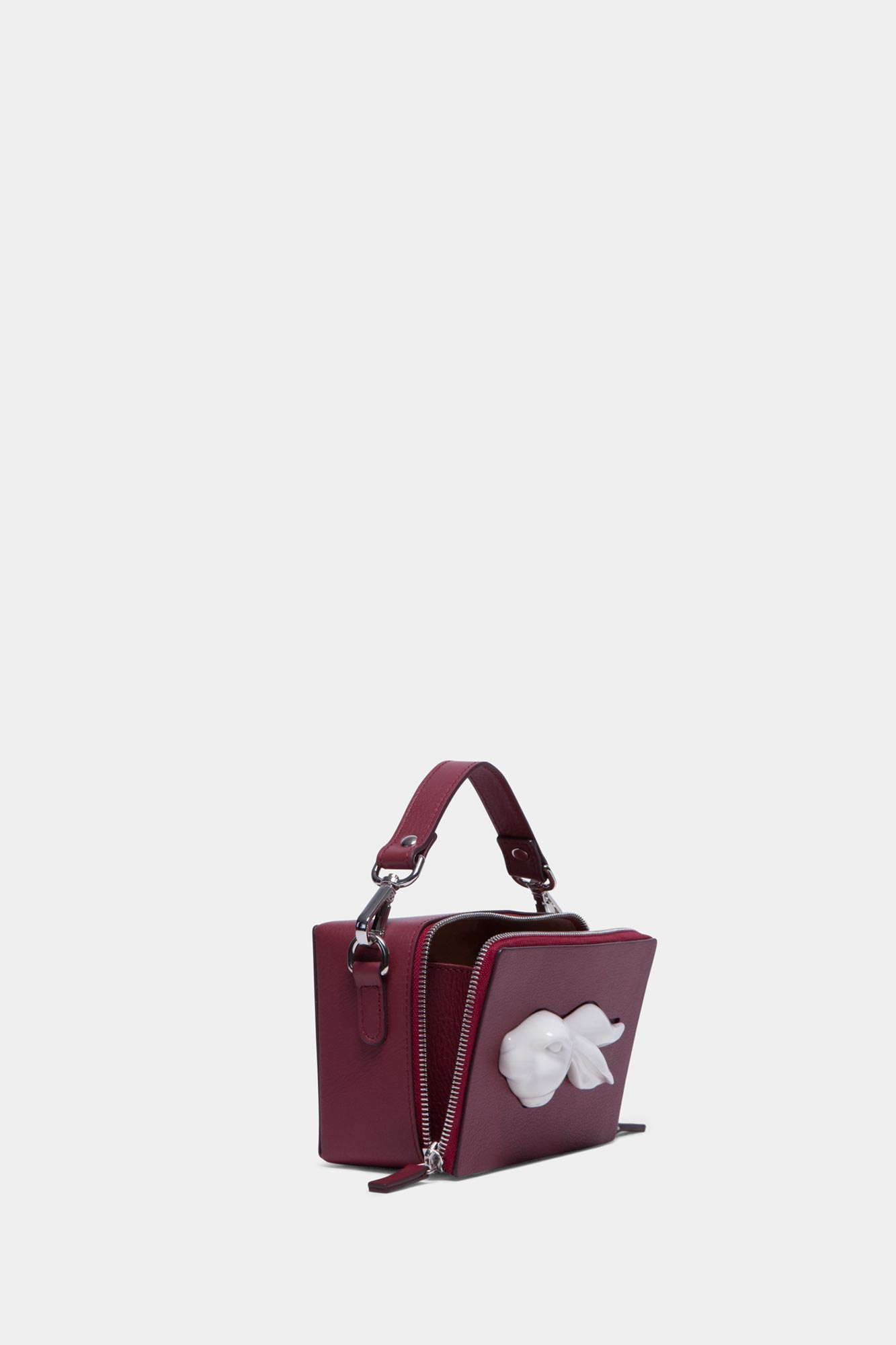 Rectangular Rabbit Head Bag Burgundy