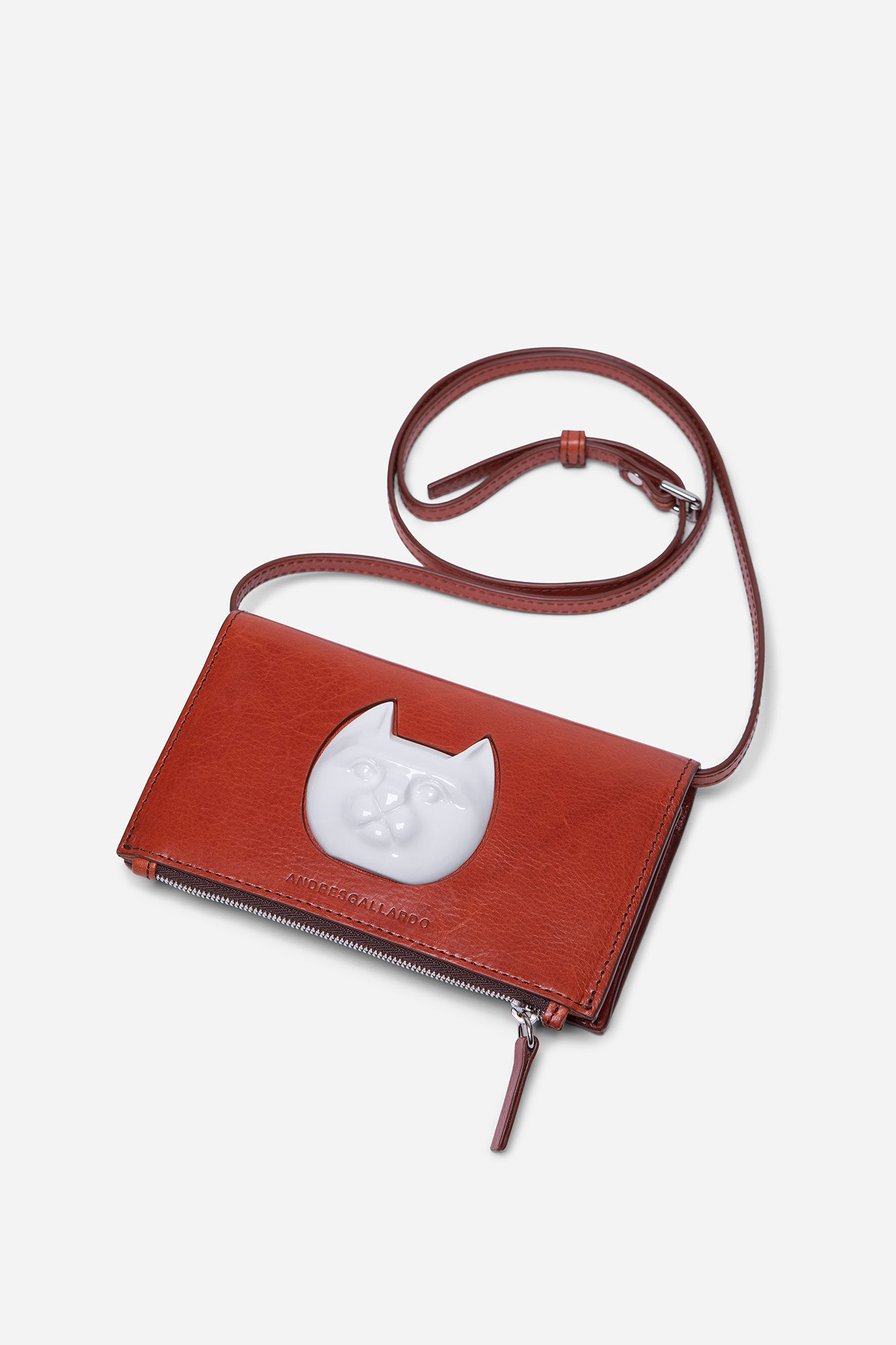 Cat Face Wallet Bag Brandy